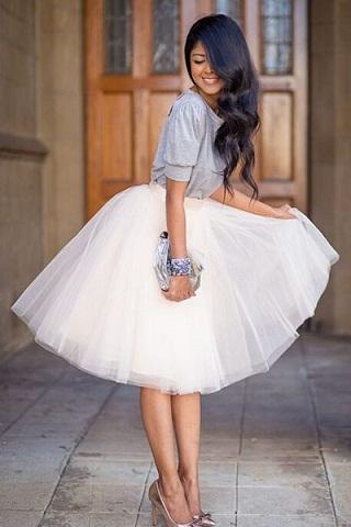 A- line knee length white bubble skirt