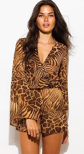 Animal Print Romper Gypsy Jumpsuit