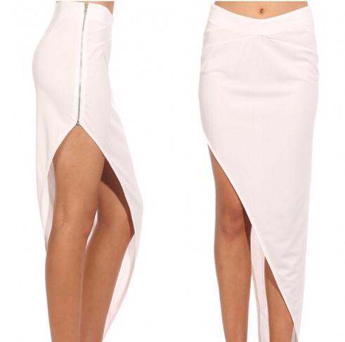 Asymmetric White Maxi Skirts