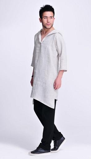 Asymmetrical Hood Linen Tunic
