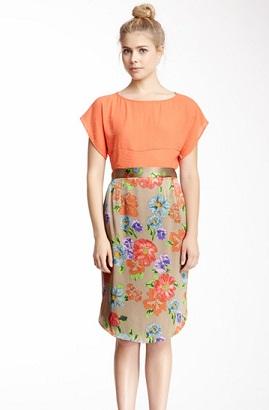 Back Button Silk Pencil Skirts