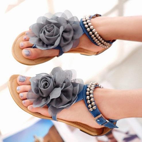 Big Flower Studded Beach Sandal
