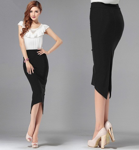 Black Bodycon Overlay Pencil Skirt