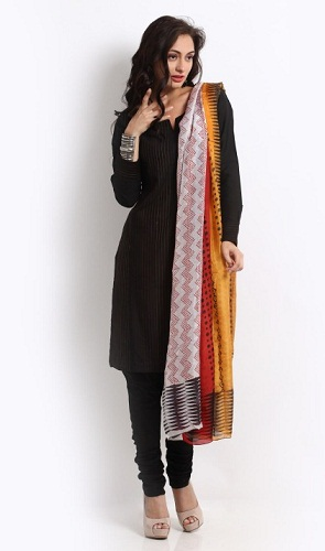 Black Churidar Kurta