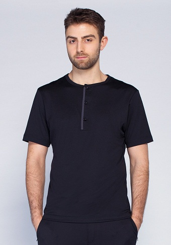 Black Collarless Short Tunic for Men