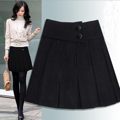Black Short Winter Wool Skirts
