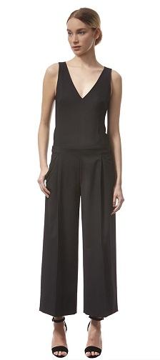 Black V-neck Cropped Culotte jumpsuit -6