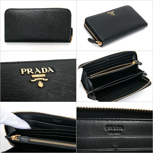 ee4ea228309911 Get this authentic black Prada wallet for women as a statement item. The  Saffiano leather wallet comes with a flap and has gold plated zips.