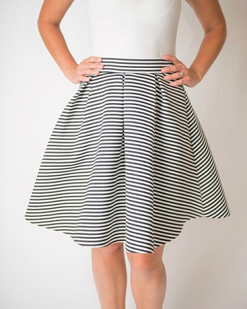 Black and white circular style skirts