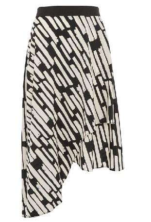 Black and white midi style skirt