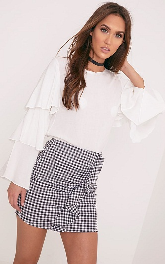 Black and white mini skirt