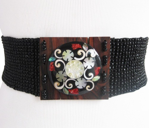 Black bead with Shell Design Wide Belt