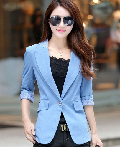 Blue Budding Women's Summer Blazer
