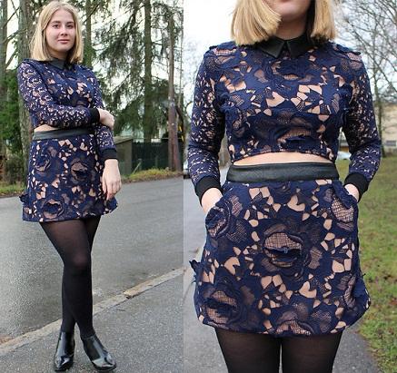Blue Lace Mini Skirt