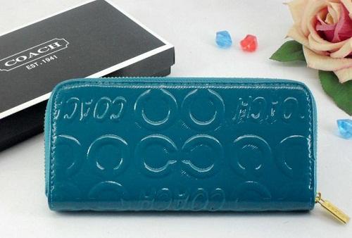 Blue Leather Coach Wallet