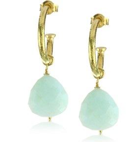 Blue Peruvian Opal Hanging Earring