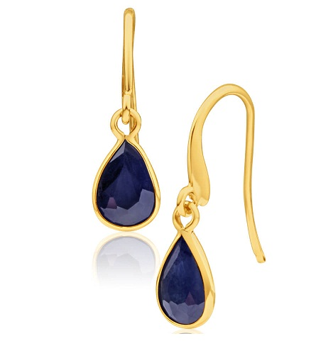 Blue drop Gold Sapphire Earring