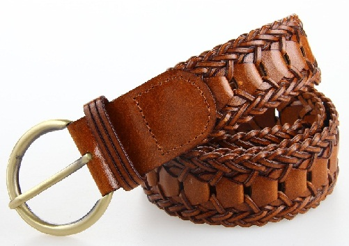 Bonded Leather Waist Braided Belt