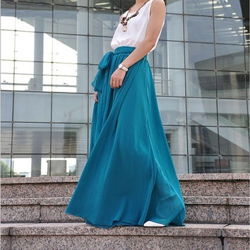 Bow Tie Maxi Skirts in Silk