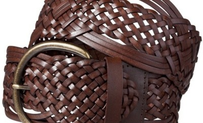 Braided Brown Leather wide Belt