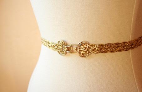 Braided Gold Belt for Women