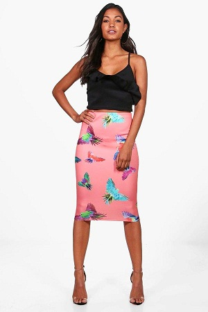 Bright Pink Printed skirt