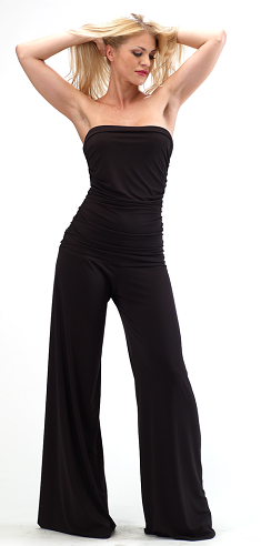 Broad Legged Strapless Jumpsuit