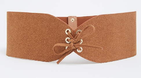 Brown Faux Cinch Wide Waist Belt