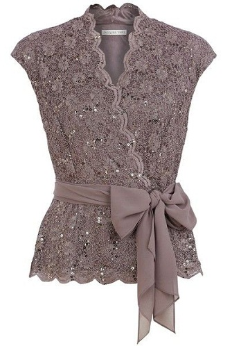 Brown Lace Crossover Top