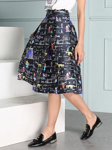 Cartooned patterned high waist bubble skirt