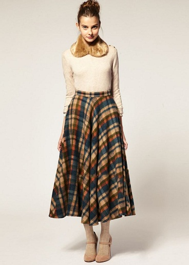 Checked Styles Winter Long Skirts