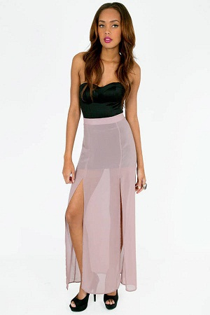Chiffon transparent Slit Maxi Skirt
