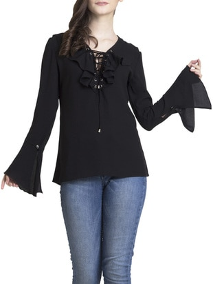 Classy Black Polyester top