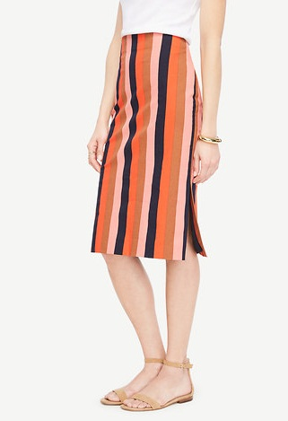 Colourful Stripped Straight Skirt