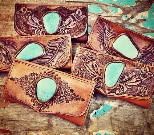 Crafted Wallet with Turquoise Stone