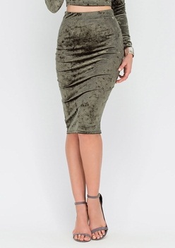 Crushed Velvet Bodycon Midi skirt