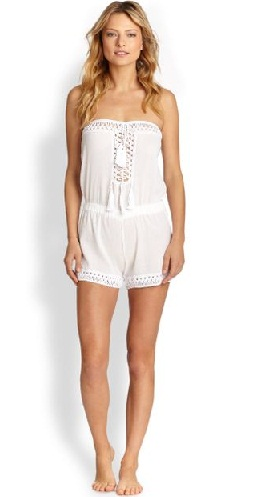 Cute new White Layered Belted Short Jumpsuit