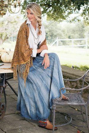 Denim Broomstick Skirt