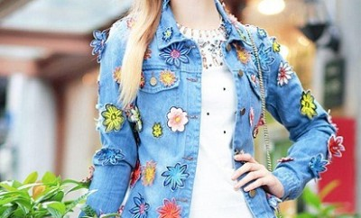 Denim floral blazer