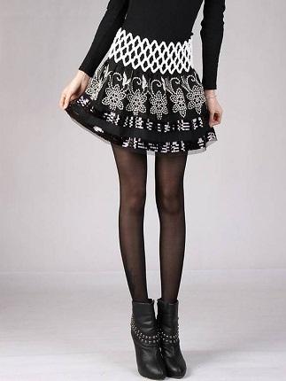 Designer Floral Embroidery Winter Skirt