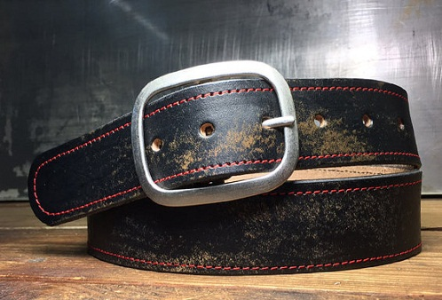 Distressed Leather Black Belt