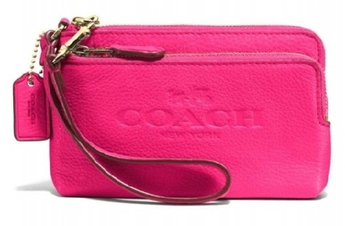 Double Zipper Leather Wrist let Pink Coach Wallet
