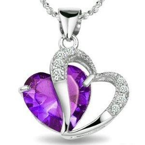 Double heart February birthstone pendant