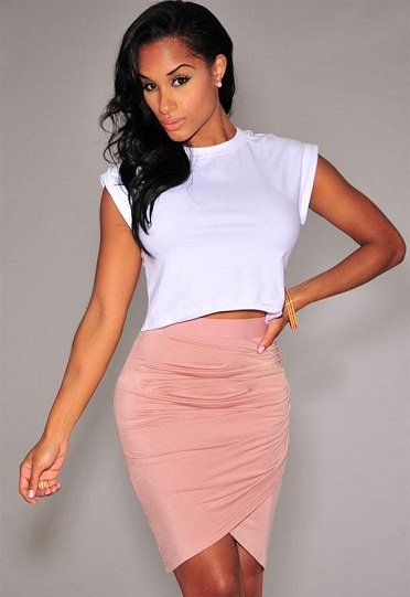 Draped Style Pink Tight Skirts