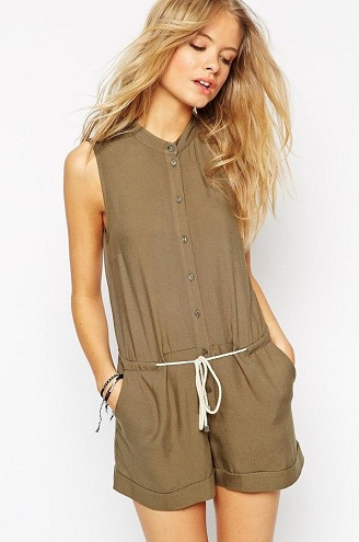 Drawstring String Neutral Romper Jumpsuit