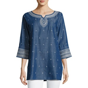 Embroidered Denim Tunic for Women