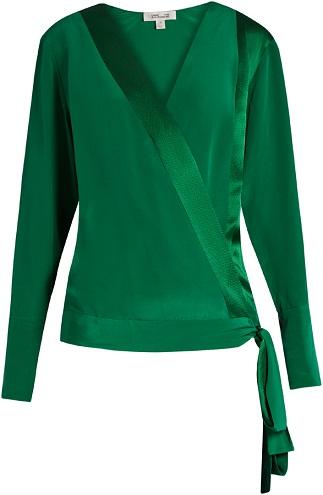 Emerald green Silk Crossover Wrap
