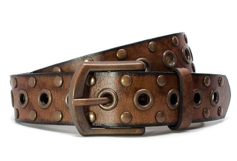 Faded Leather Gold Studded Men Belt