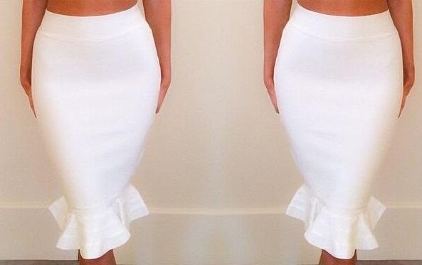 Fashionable White Fishtail Skirts