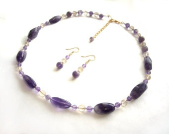 February birthstone Necklace and earring set